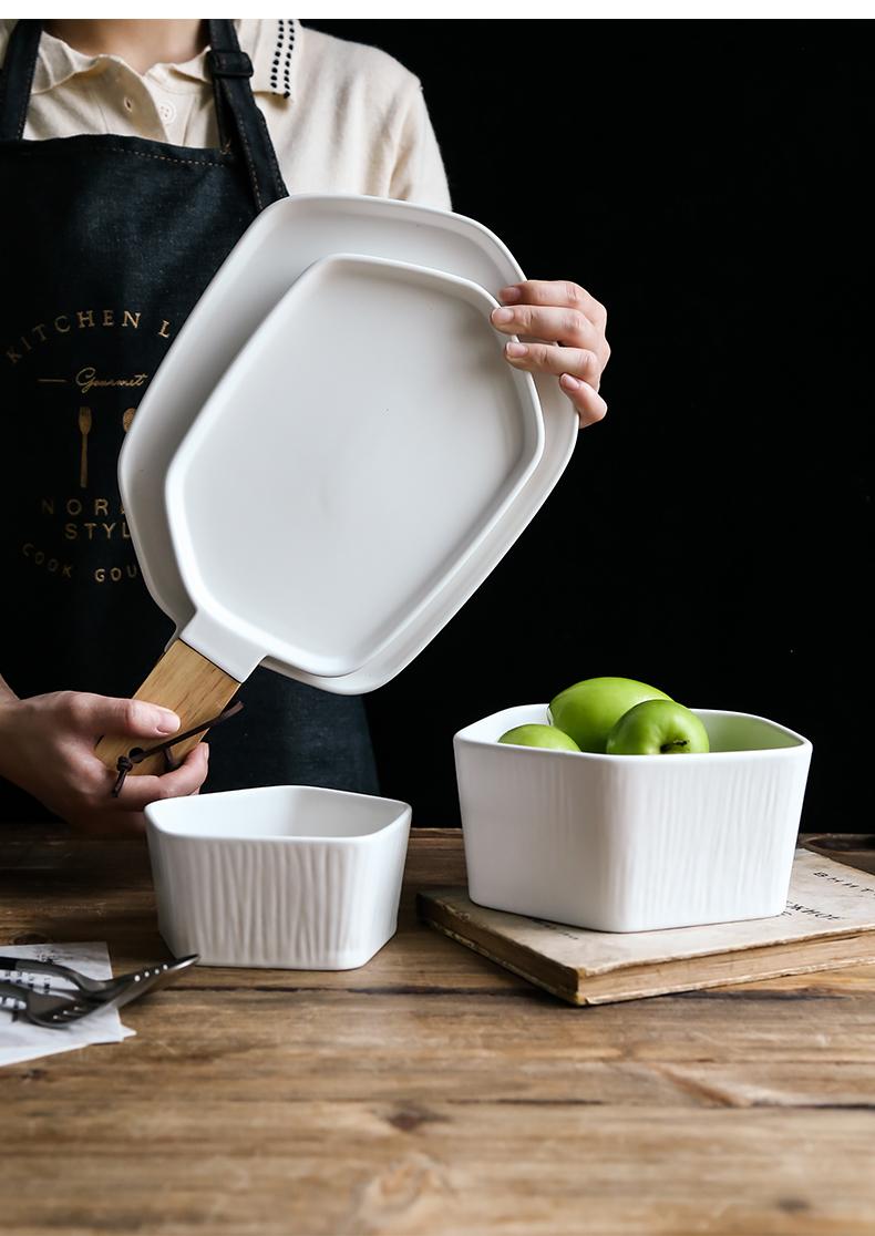 北欧创意陶瓷西餐盘早餐盘平盘家用餐具不规则盘子带木把手盘菜盘