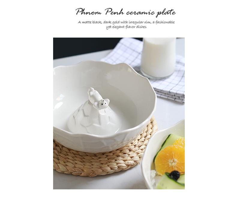 北欧风 北极熊陶瓷水果可爱甜品沙拉碗创意立体动物零食家用汤碗