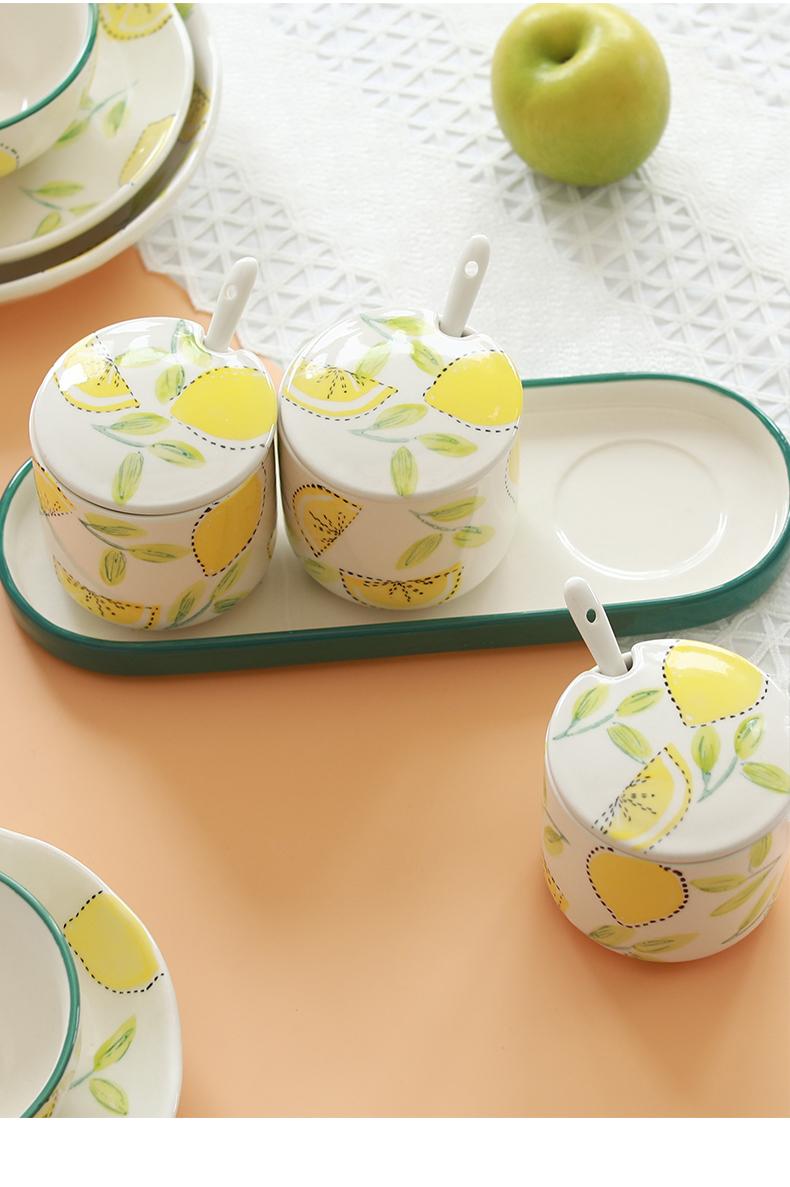 北欧风INS 樱桃陶瓷调味罐佐料盒厨房用品调料罐家用沥水陶瓷筷筒