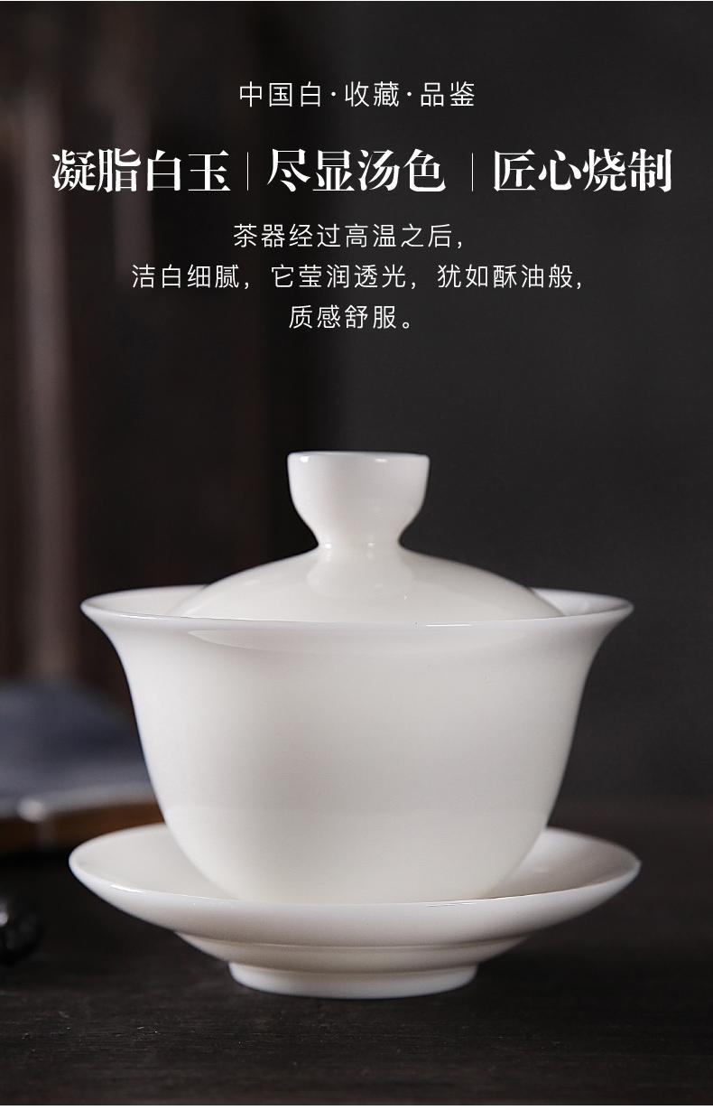 RenXin tea tureen suet jade dehua white porcelain Chinese kung fu tea cups with manual glaze 160 ml three teapots