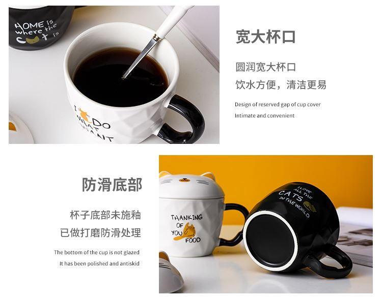 Creative express cat mark cup cartoon ceramic cup with cover spoon keller cup coffee cup couples cup for breakfast
