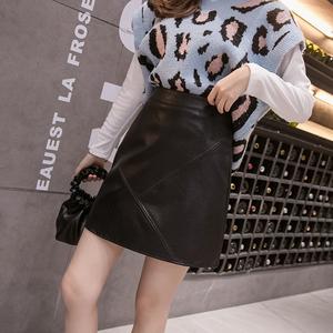 秋冬季高腰PU半身裙小皮裙