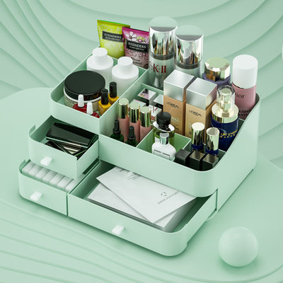 Household cosmetics storage box rack dormitory desktop organize drawer type skin care product storage plastic box simple