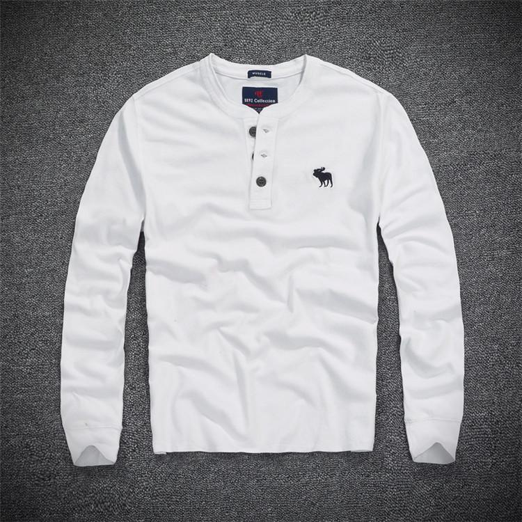 秋季男款af上衣打底立领新款亨利领修身长袖T恤衫百搭纯棉衫