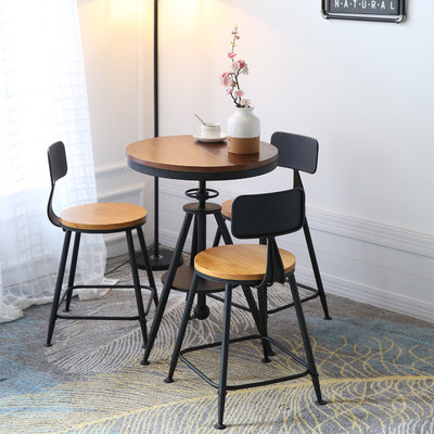 Nordic Cafe Table and Chair Combination Iron Balcony Milk Tea Shop Leisure Table and Chair Three-piece Suit Suitable Wood Circular Table Cup