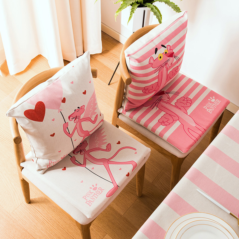 Cute Pink Panther Cotton Linen Craft Cushion Office Chair Seat Pad Thick  Non Slip Dining Chair