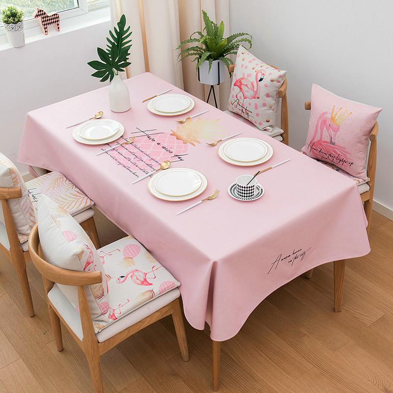 khăn trải bàn màu hồng lưới đỏ Bắc Âu nhỏ cotton tươi nghệ thuật hình chữ nhật bàn cà phê vải không thấm nước khăn trải bàn khăn trải bàn - Khăn trải bàn