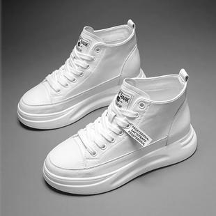 女鞋拍下118元新品5cm厚底内增高中帮真皮小白鞋