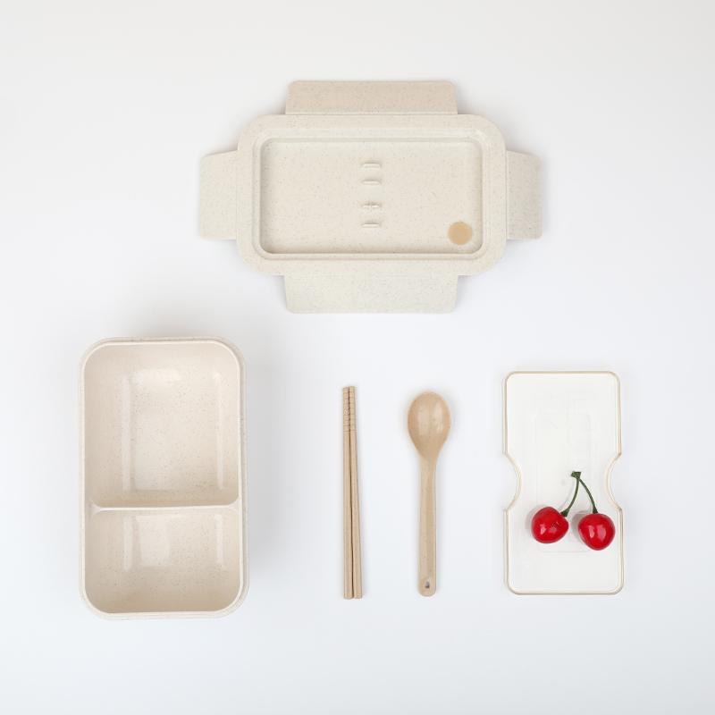 可微波:日式小麦秆饭盒+送餐具2件套