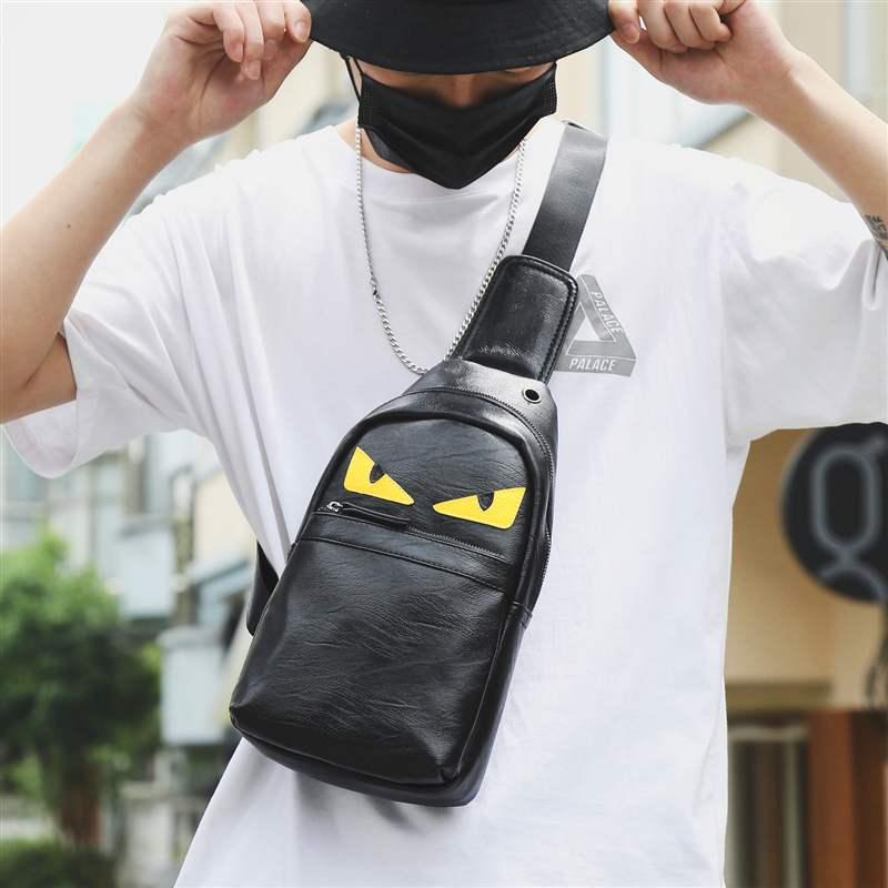 男士胸包小怪兽韩版挎包背包休闲青年腰包运动单肩包斜皮质男潮牌