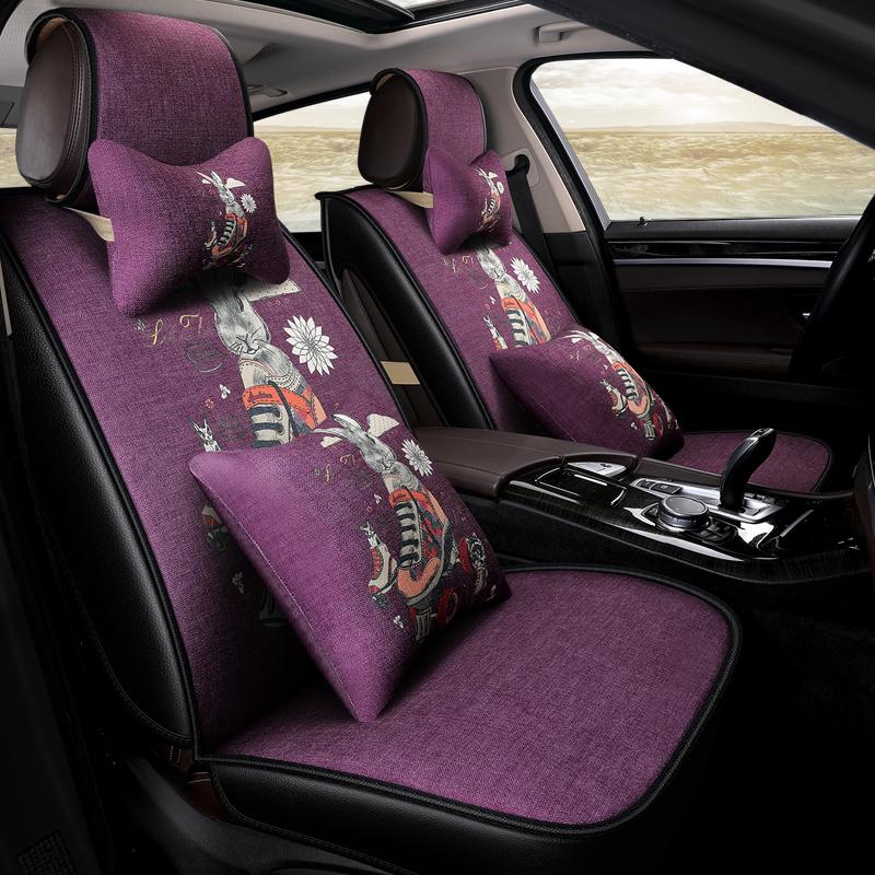 亚麻通用坐垫四季现代ix35领动朗动索纳塔八索九卡通座套全包汽车