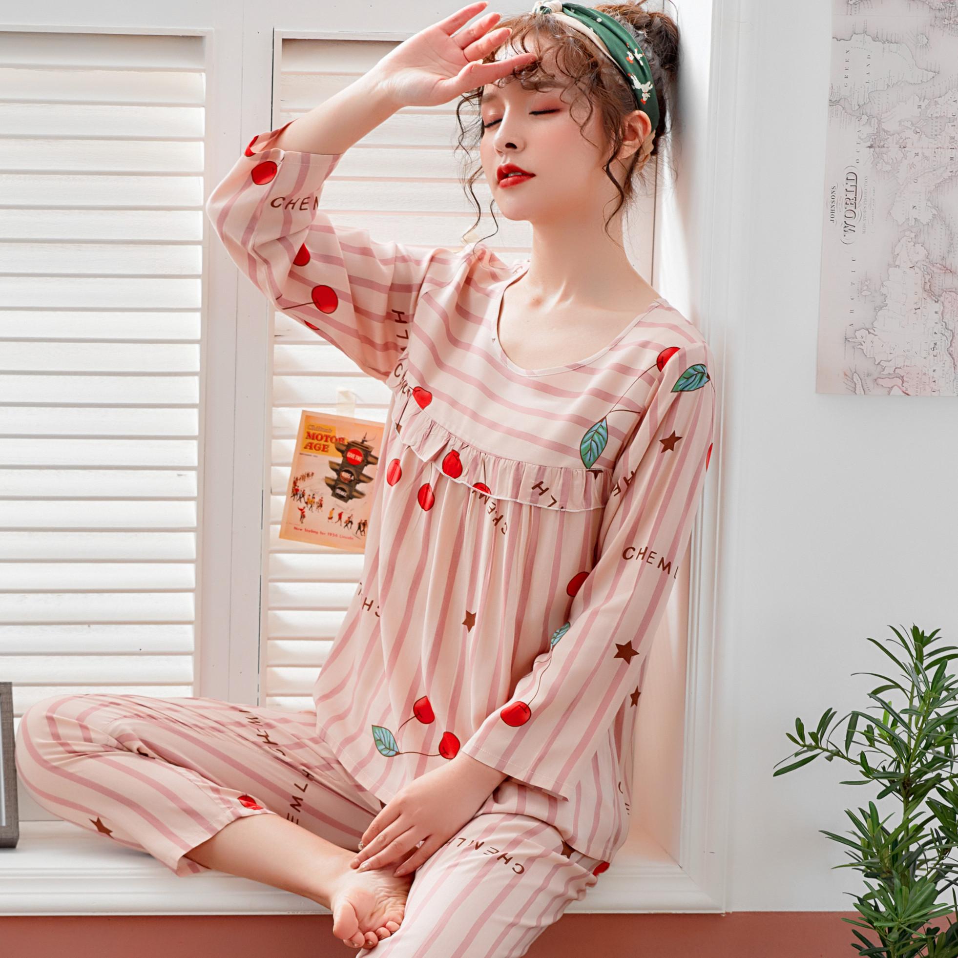 春秋季薄款长袖绵绸睡衣女夏季梭织纯棉绸人造棉女两件套装家居服