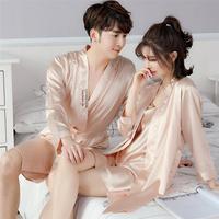 Демисезонный Сезон халат шелковый для влюбленной пары Халат шелковая пижама, ночная рубашка, лето мужской длинный рукав Халат из шелкового льда