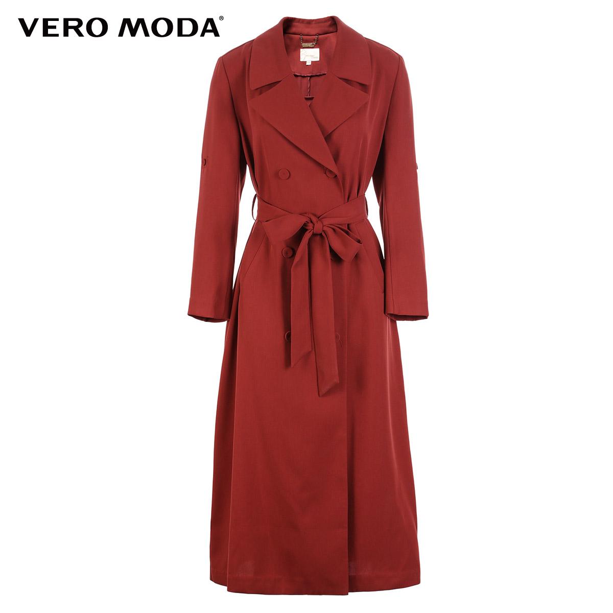 Vero Moda2017秋季新款翻领绑带收腰双排扣风衣外套|317321511
