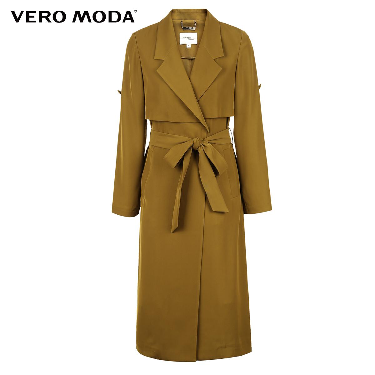 Vero Moda2017冬季新款英伦风两穿轻薄中长款风衣|317421507