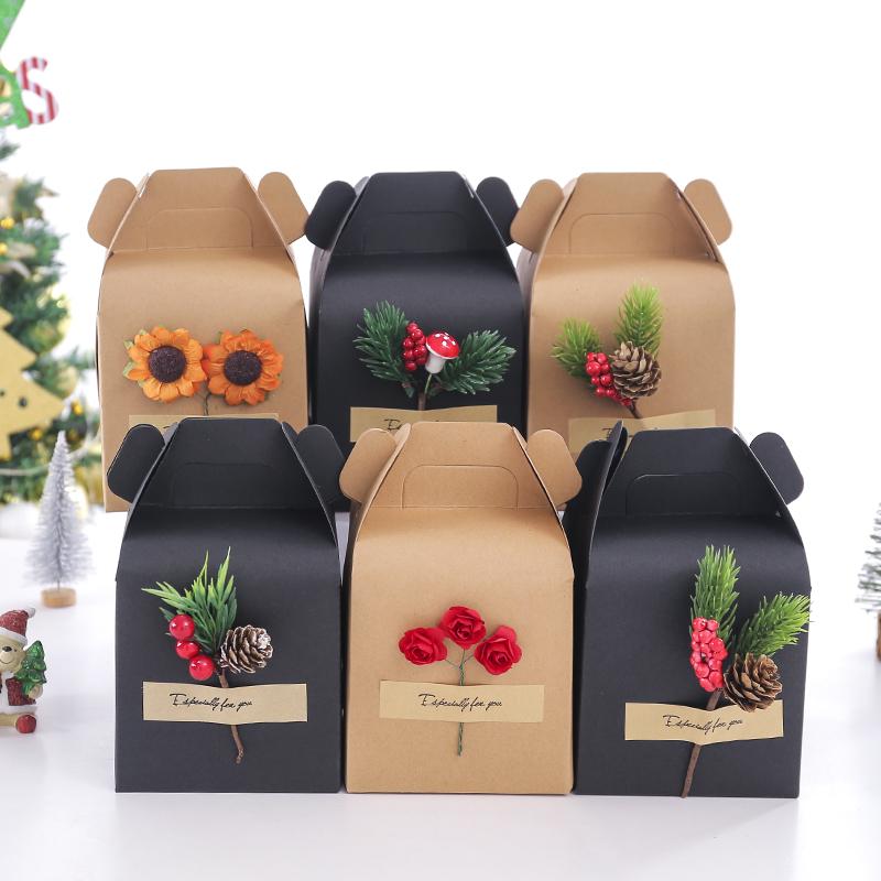 创意牛皮纸圣诞苹果盒平安夜送男女生朋友老师员工婚礼糖果盒
