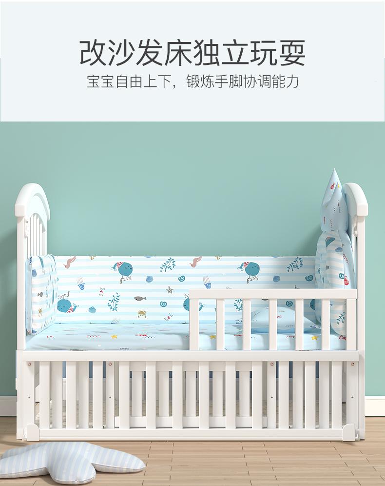 爱裏奇婴儿床实木欧式可移动宝宝新生儿多功能摇篮儿童拼接大床详细照片