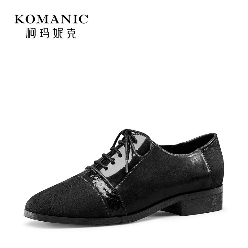 柯玛妮克2017秋季新款黑色鞋女粗跟中跟女鞋工作鞋女绑带牛津鞋