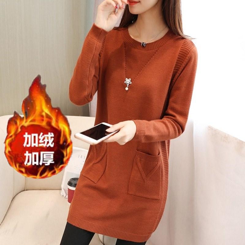 秋冬季版新款小个子中长款打底女套头外穿羊毛衫中款针织毛衣衫