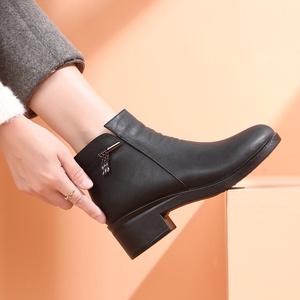 【彩见】加绒保暖中老年人皮鞋