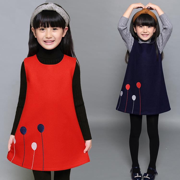 。背心连衣裙毛呢儿童公主冬背心裙洋气裙子女童裙小女孩毛呢套装