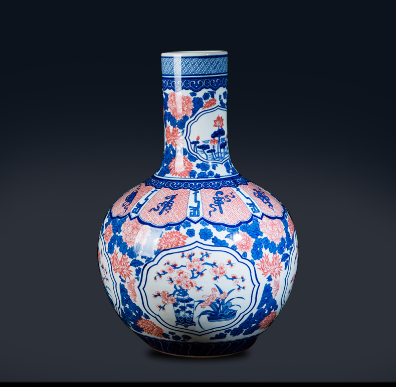 Jingdezhen ceramic antique youligong in large blue and white porcelain is 50 cm high sitting room of Chinese style household decorative vase
