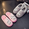 Hair slippers winter 2018 new cotton slippers women plus velvet wear couple shoes baotou half slippers cute month slippers