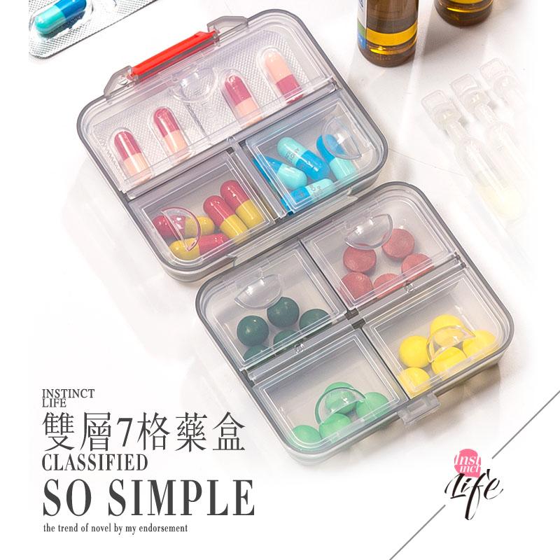 Mini small medicine box Portable 7 cells a week 3 days Health care product dispensing medicine pill box Large capacity small travel