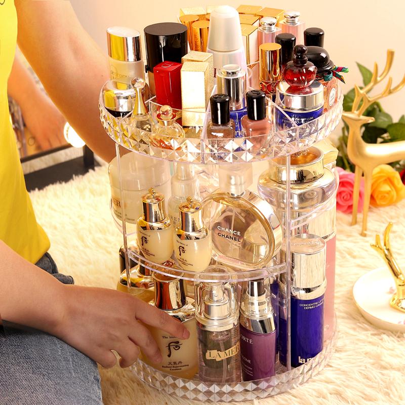 韩久网红化妆品收纳盒旋转亚克力梳妆台整理桌面口红护肤刷置物架