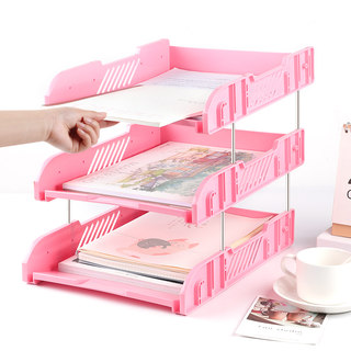 Chuangyi new fashion creative small fresh color three-layer file tray desktop file holder office supplies file rack upright vertical data rack folder storage box box stationery wholesale