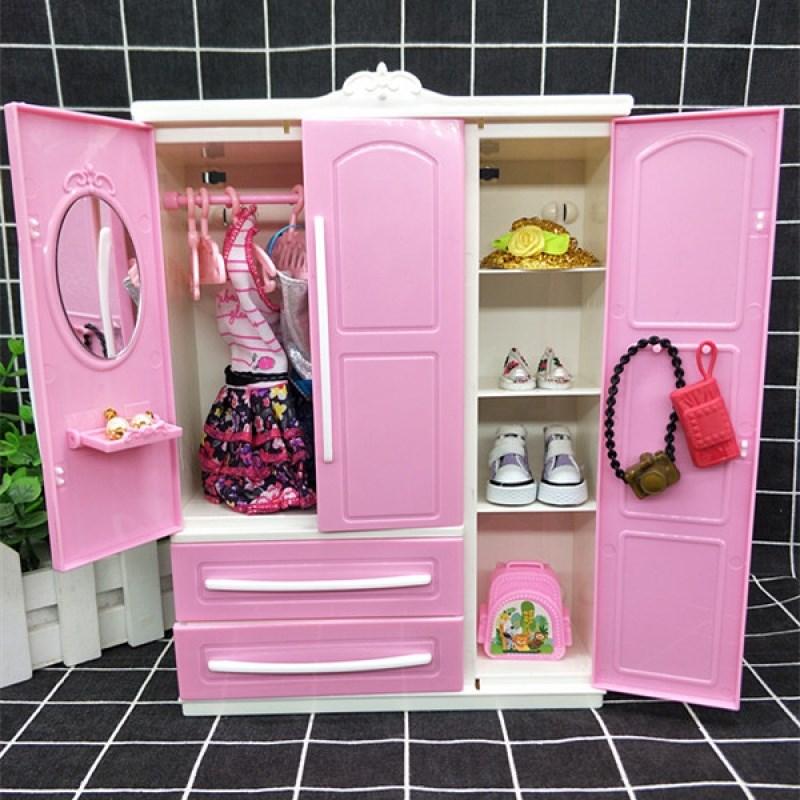 Công chúa xinh đẹp đám cưới búp bê barbie giày tưởng tượng tủ quần áo tủ quần áo lưu trữ tủ quần áo quần áo búp bê đồ chơi - Búp bê / Phụ kiện
