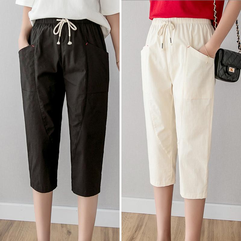 棉麻七分裤女宽松薄款夏季白色直筒显瘦黑色短裤休闲哈伦 7分裤子