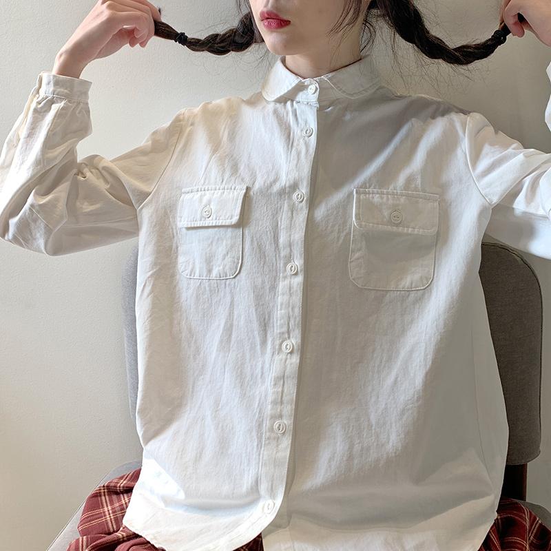 酱果自制可爱日系学院风白色工装圆领纯棉打底长袖衬衫衬衫上衣女详细照片