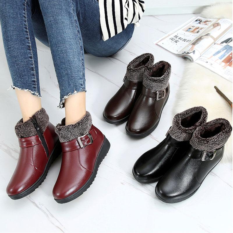 中老年平底妈妈棉皮鞋女冬季a妈妈加绒软底短靴老人棉靴妈妈鞋棉鞋