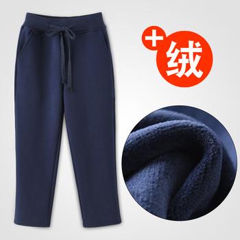 Ребенок темно-синий униформа спортивные брюки зимний осенний с дополнительным слоем пуха мальчиков девочки небольшой студент модель прямо брюки сын, цена 1089 руб