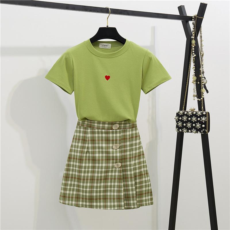 2019夏法国复古芥末绿套装裙小清新高腰伞裙百褶半身裙两件套裙子