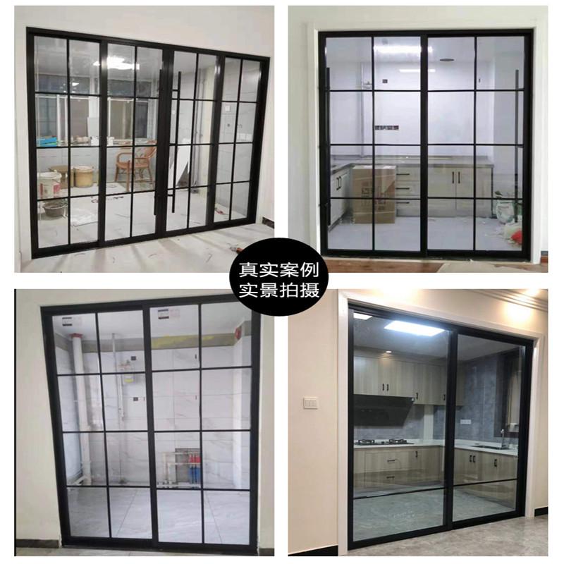 Custom balcony sliding door Kitchen glass sliding door partition Single layer tempered glass lattice door Narrow edge powder room door