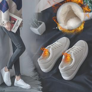 酷贝缇加绒小白鞋女平底鞋2018新款