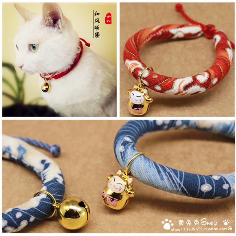 手工宠物猫咪狗饰品招财猫日本和风项圈铃铛挂牌项链包邮