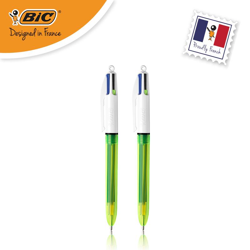 法国BIC比克荧光四色圆珠笔按动式1.0mm黑篮红+1.6mm荧光黄多色学生用笔记重点标记办公原子笔penbeat专用