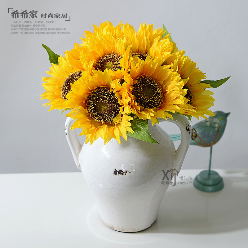 10 artificial sunflower sun flower bouquet false flower living room ...