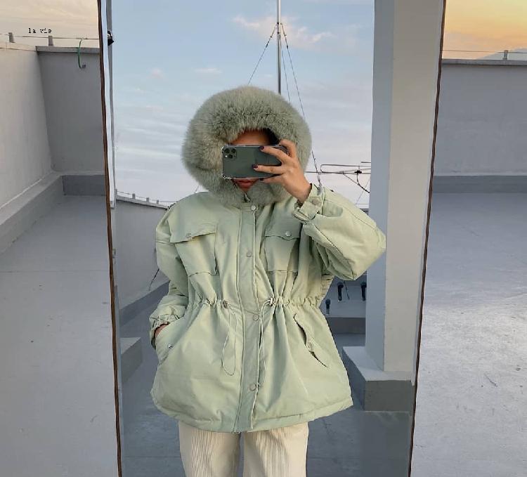 韩国东毛领棉服代购J.RITZY带帽款大门女装