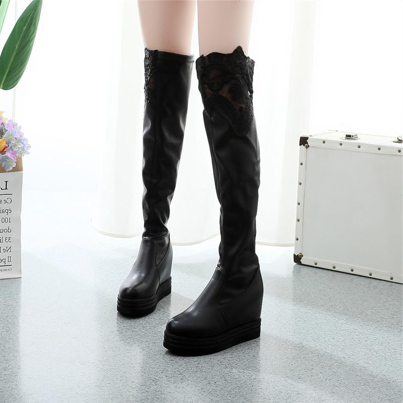 班杰豪过膝靴女2018冬季新款欧美百搭内增高瘦腿弹力防水台女鞋子