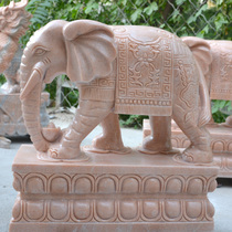 Spot sunset red stone carving elephant pair