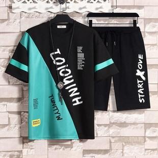 男士短袖t恤套装休闲运动夏季新款宽松韩版