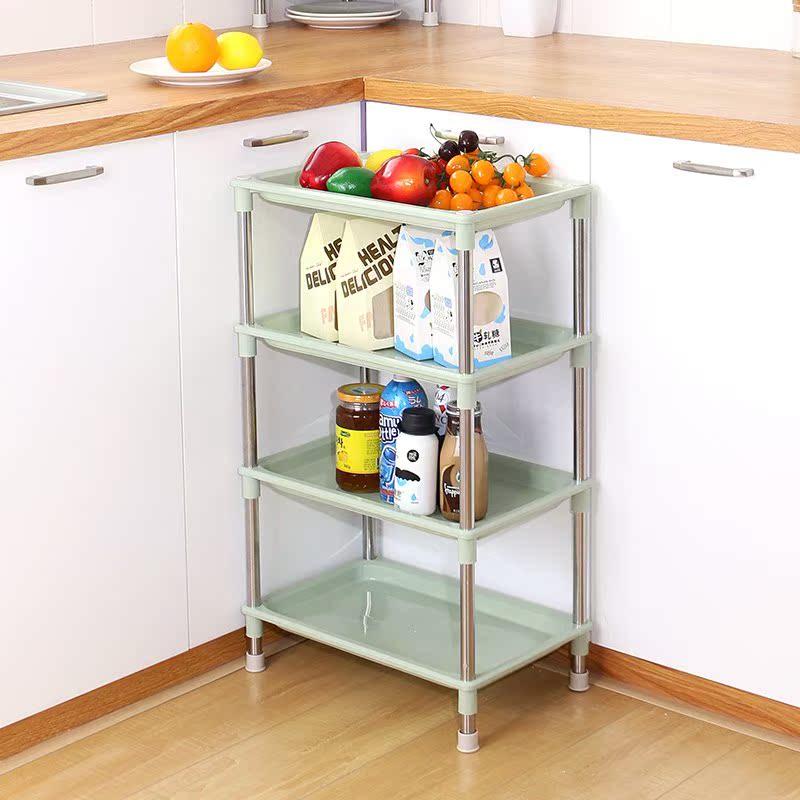 架子置物架三角落地水果蔬菜厨房架多层家用塑料层架菜收纳放锅架