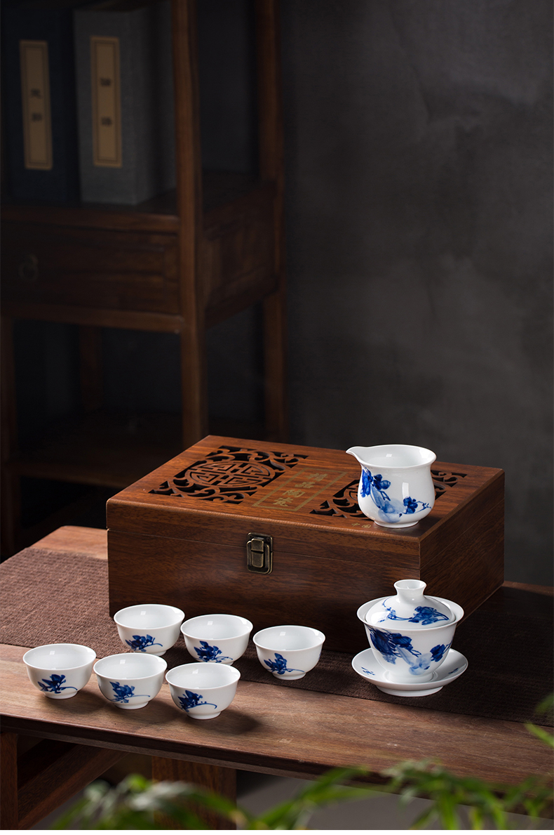 Jingdezhen ceramic hand - made tea Chinese style household, blue and white porcelain teacup kung fu tea pot office gift set