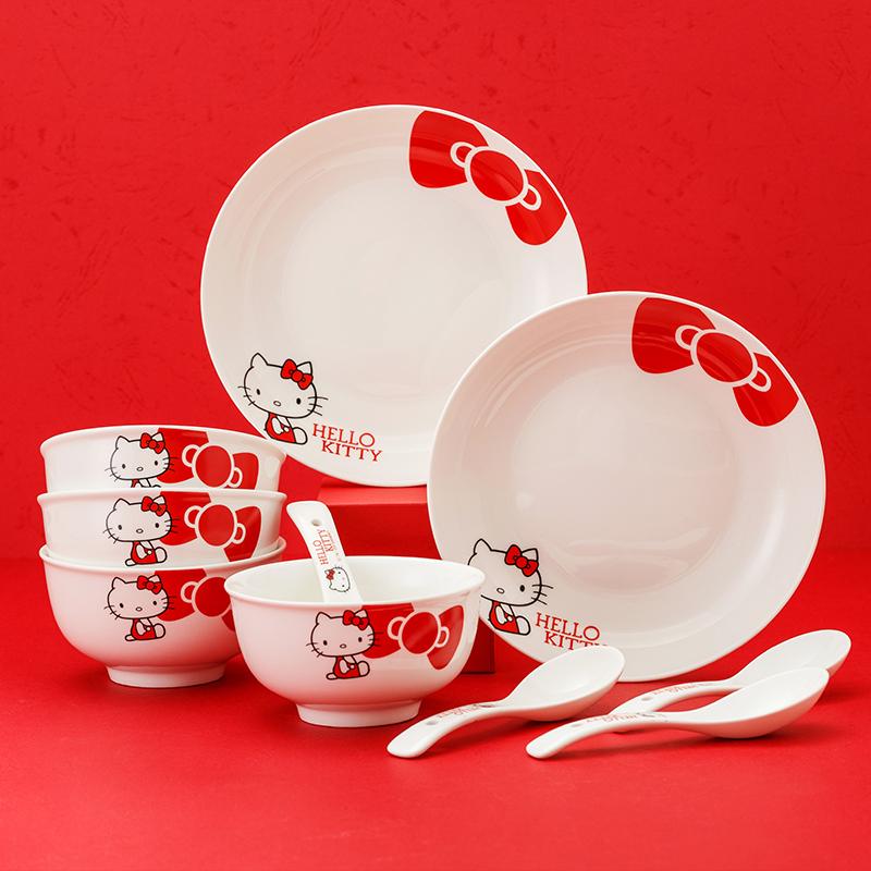 HELLO KITTY 红色蝴蝶结陶瓷碗碟餐具套装 10件套