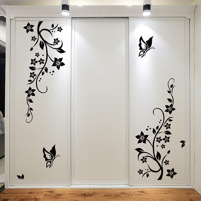 简约卧室房门墙壁装饰黑色蝴蝶花藤柜子衣柜墙贴贴纸贴画自粘