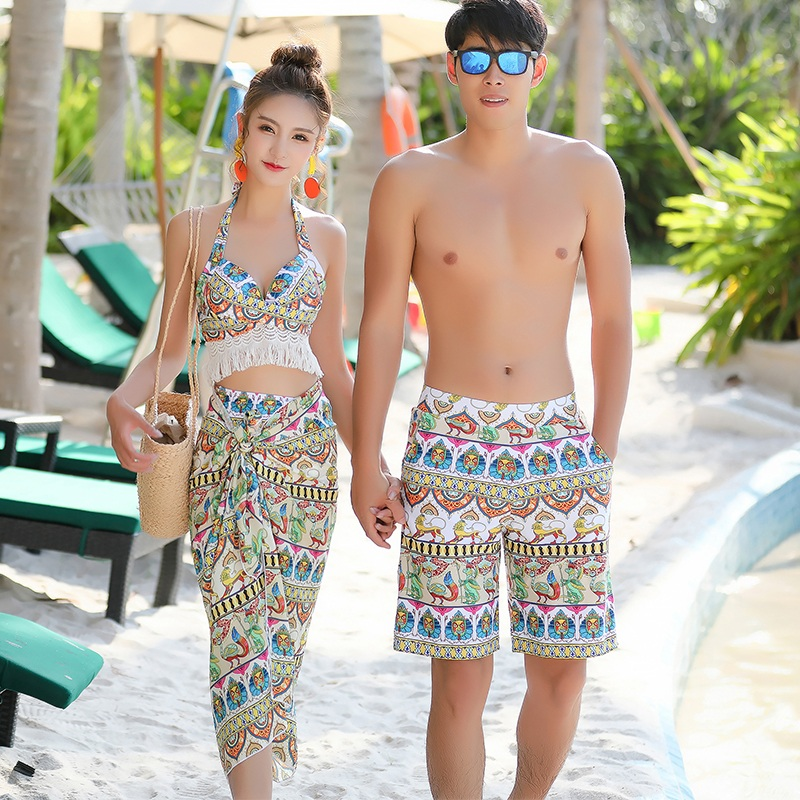 889a3662a8 Couple Swimsuit 2019 new three-piece bikini swimwear beach holiday suit Hot  Spring Beach couple models